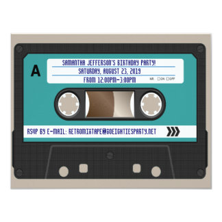 Retro 80s Cassette Mixtape Personalized 11 Cm X 14 Cm Invitation Card