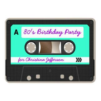 """Retro 80s Cassette Tape Birthday Party Invitation 4.5"""" X 6.25"""" Invitation Card"""