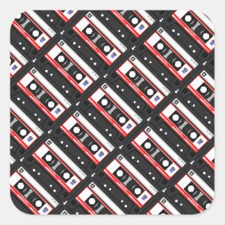 Retro 80's cassette tape square sticker