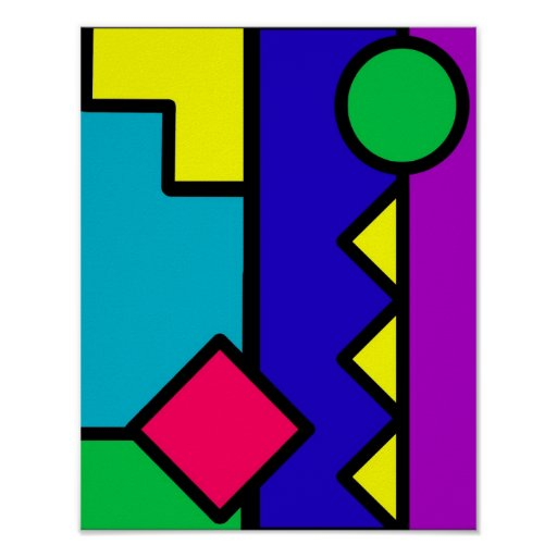 Retro 80s Color Block Print