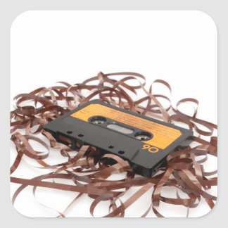 Retro 80's Design - Audio Cassette Tape Square Sticker