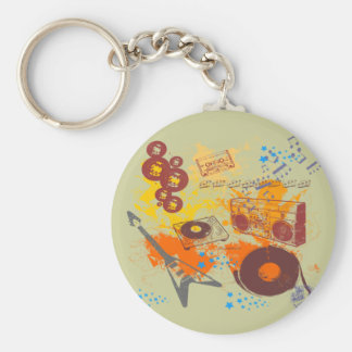 Retro 80's Music Basic Round Button Key Ring
