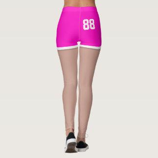 Retro 80s Neon Pink Sport Running Shorts Leggings