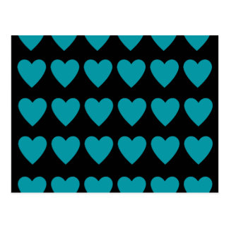 Retro 80's punk blue hearts on black postcard