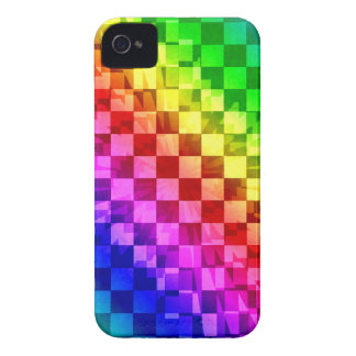 Retro 80s punk rainbow check pattern iPhone 4 Case-Mate cases