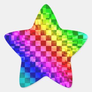 Retro 80s punk rainbow check pattern star sticker