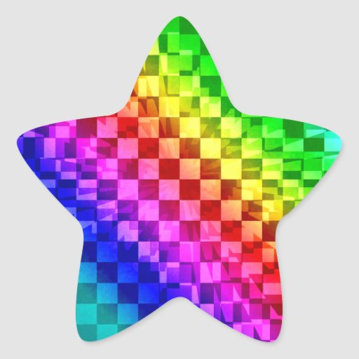 Retro 80s punk rainbow check pattern star stickers