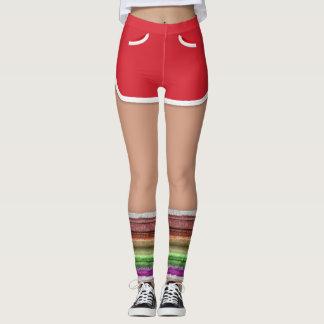 Retro 80s Red Sport Shorts Leg Warmers Leggings