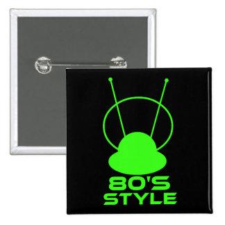 Retro 80s Style 2 Inch Square Button