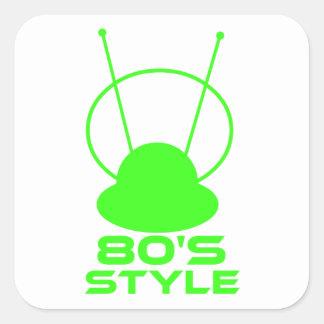 Retro 80s Style Square Sticker