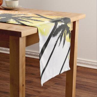 Retro 80's Summer Palm Trees Geometric Triangles Short Table Runner