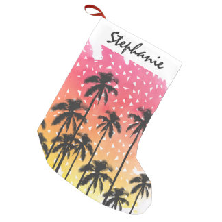 Retro 80's Summer Palm Trees Geometric Triangles Small Christmas Stocking