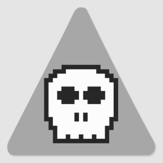Retro 8-bit Skull Triangle Sticker