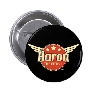 Retro Aaron on Red Circle with Wings 6 Cm Round Badge
