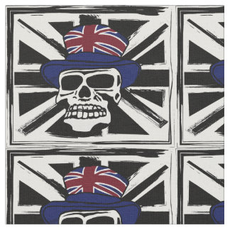 Retro abstract black union jack punk skull fabric