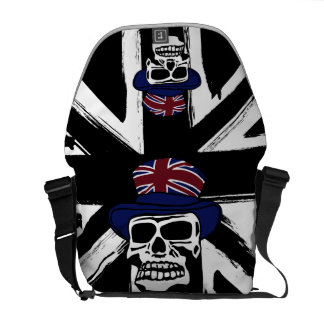 Retro abstract black union jack Punk skull Messenger Bags