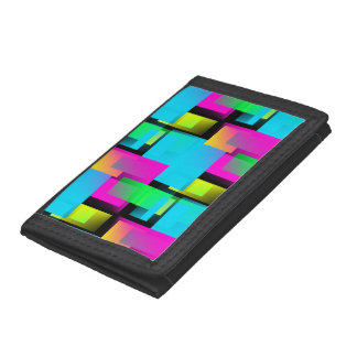 Retro Abstract Block Pattern Trifold Wallet