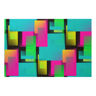 Retro Abstract Block Pattern Wood Print