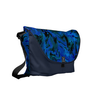 Retro Abstract Charcoal Blue Messenger Bag