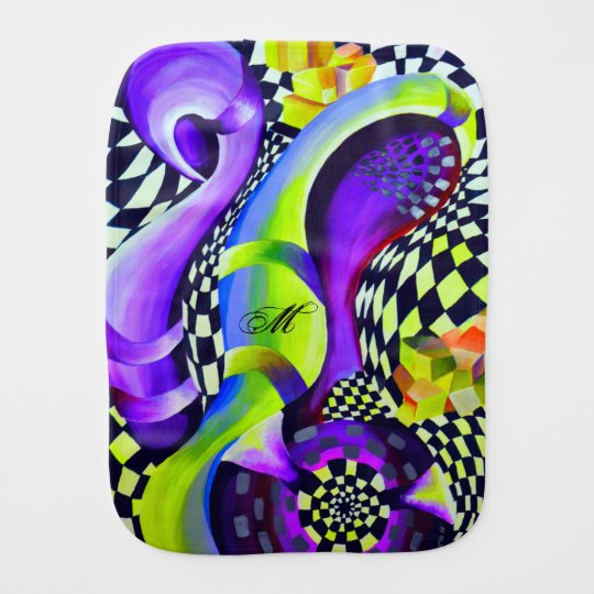 Retro Abstract Electric Blue and Harlequin Green Burp Cloth