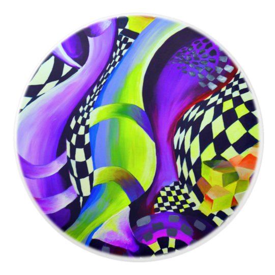 Retro Abstract Electric Blue and Harlequin Green Ceramic Knob
