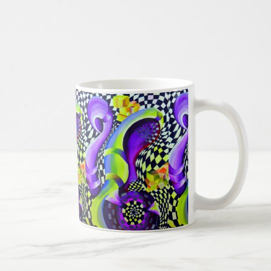 Retro Abstract Electric Blue and Harlequin Green Coffee Mug