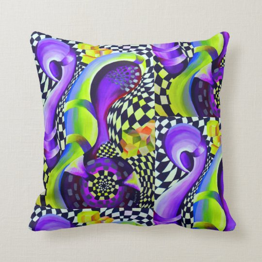 Retro Abstract Electric Blue and Harlequin Green Cushion