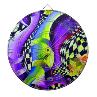 Retro Abstract Electric Blue and Harlequin Green Dartboard