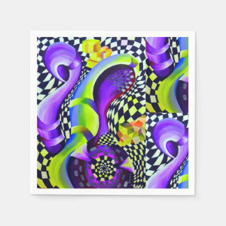 Retro Abstract Electric Blue and Harlequin Green Disposable Napkin