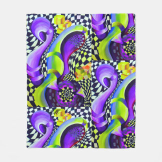 Retro Abstract Electric Blue and Harlequin Green Fleece Blanket