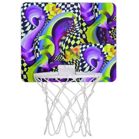 Retro Abstract Electric Blue and Harlequin Green Mini Basketball Hoop