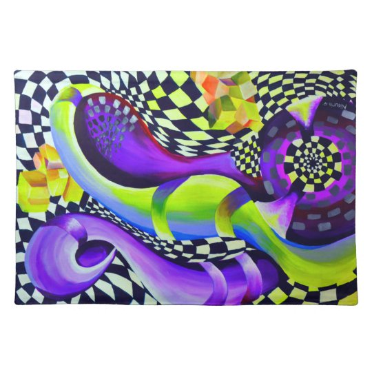 Retro Abstract Electric Blue and Harlequin Green Placemat