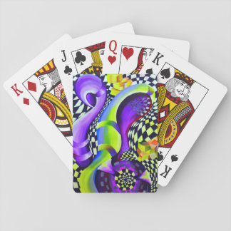 Retro Abstract Electric Blue and Harlequin Green Playing Cards