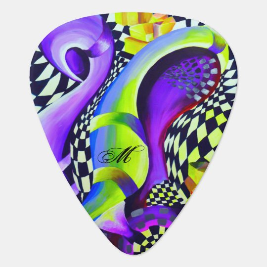 Retro Abstract Electric Blue and Harlequin Green Plectrum