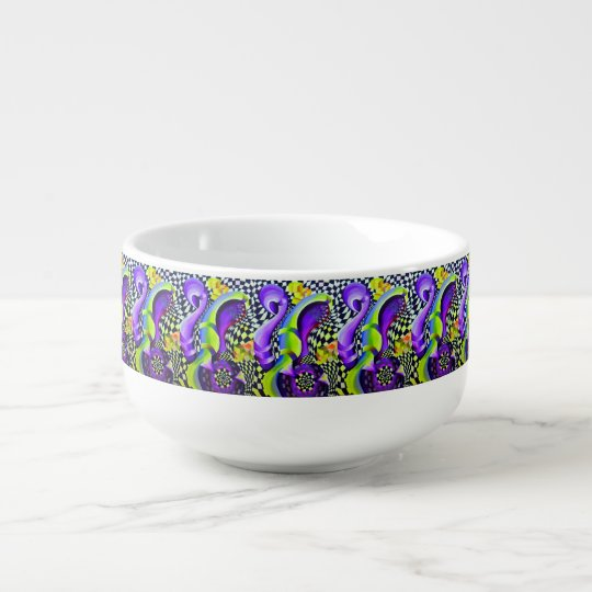 Retro Abstract Electric Blue and Harlequin Green Soup Mug