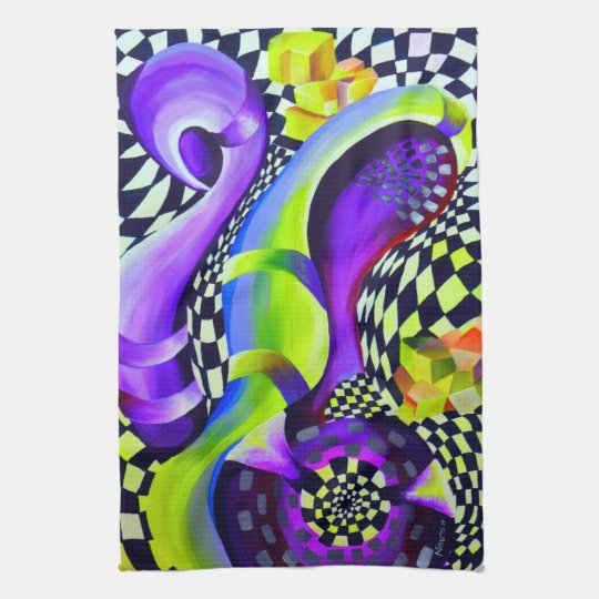 Retro Abstract Electric Blue and Harlequin Green Tea Towel