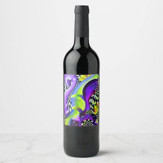 Retro Abstract Electric Blue and Harlequin Green Wine Label
