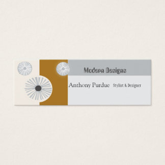Retro Abstract Floral  Modern  Mid-Century Minimal Mini Business Card