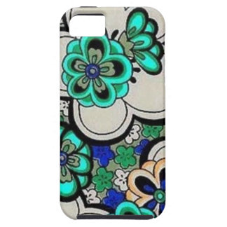 Retro Abstract Flower Teal Blue Case-Mate Vibe iPhone 5 Cases
