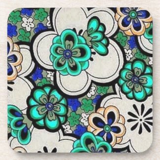 Retro Abstract Flower Teal Blue Cork Coasters