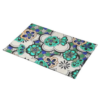 Retro Abstract Flower Teal Blue Placemats