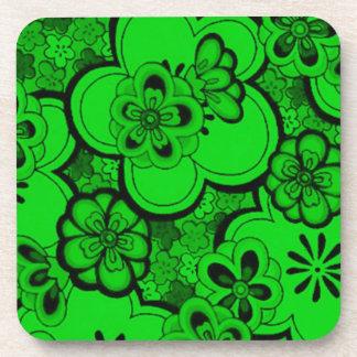 Retro Abstract Flowers Emerald Green Cork Coaster