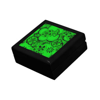 Retro Abstract Flowers Emerald Green Gift Box