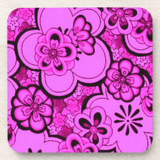 Retro Abstract Flowers Magenta Pink Cork Coaster