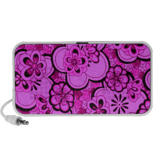 Retro Abstract Flowers Magenta Pink Portable Notebook Speaker