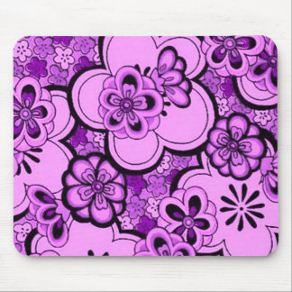 Retro Abstract Flowers Purple Amethyst Mousepad