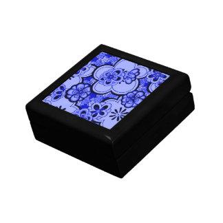 Retro Abstract Flowers Sapphire Blue Keepsake Box