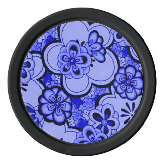 Retro Abstract Flowers Sapphire Blue Poker Chips Set