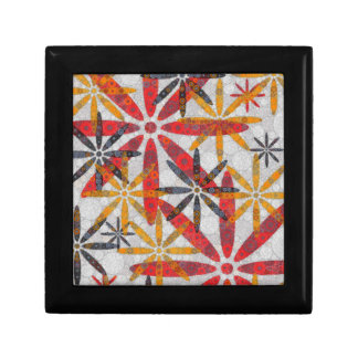 Retro Abstract Flowers Small Square Gift Box