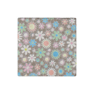 Retro Abstract Flowers Stone Magnet